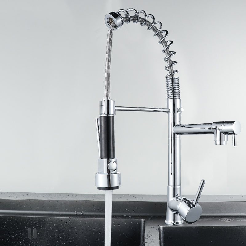 Kitchen Spring Brass Faucets Nickle Chrome Mixer Tap Pull Out Kitchen Faucet Hot&Cold Sink Mixer Tap 2 Functions Kitchen Faucet