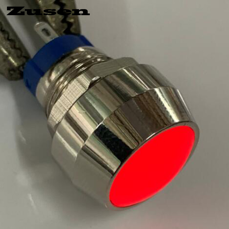 Zusen <font><b>12mm</b></font> Dome head with red <font><b>led</b></font> on/off ZS12B-10ZD/R/12V/J/N 1NO Latching Push Button <font><b>Switch</b></font> Pin terminal image