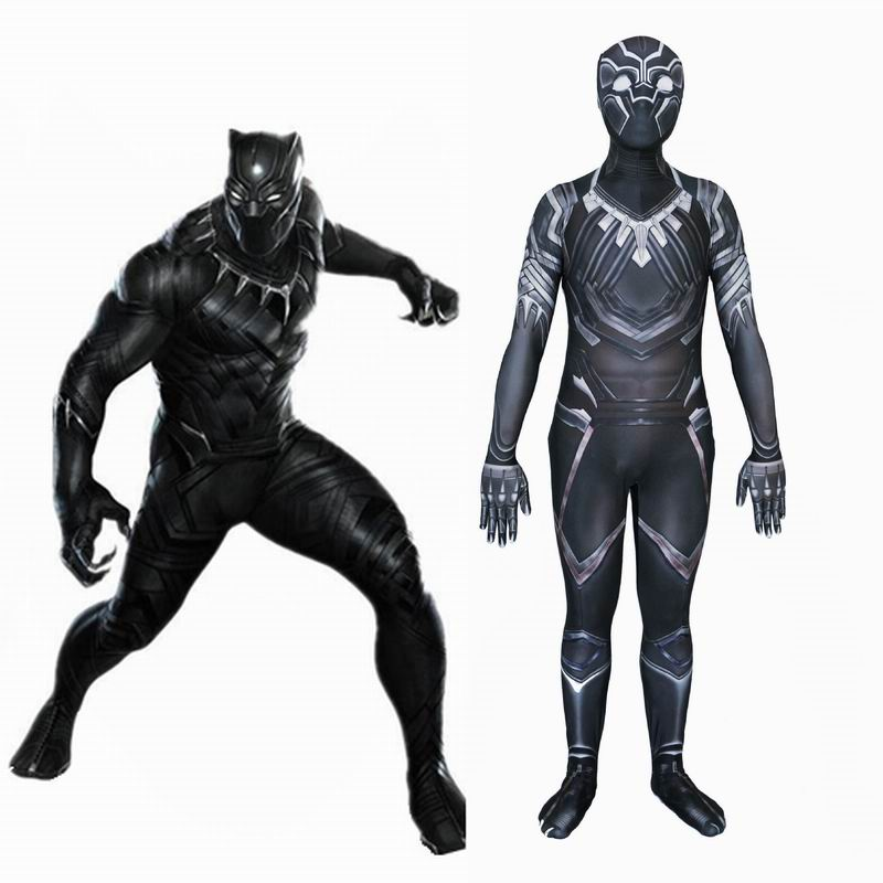 Black Panther Cosplay Costumes Adult Jumpsuits Captain America Civil War Cosplay For Men Halloween Fancy Avengerss Costume