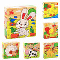 Quality  Early Education Toys Parent-Child Game Children Wooden Cartoon Animal Puzzle Toys 6 Sides Wisdom Jigsaw Puzzle MPT004