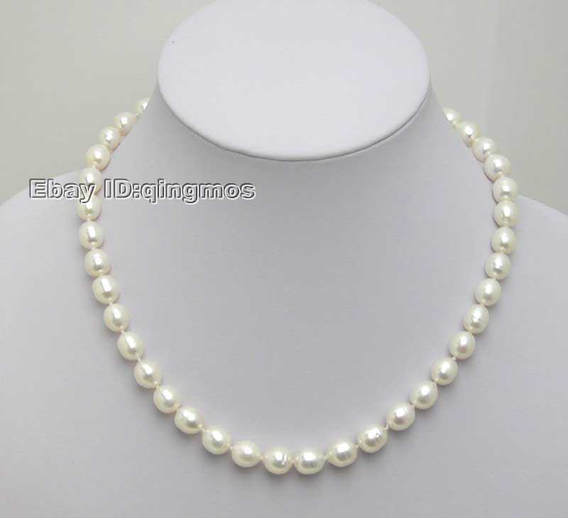 SALE small 5-6MM Rice shape WHITE Natural freshwater PEARL 17 NECKLACE -nec5024 Wholesale/retail Free ship