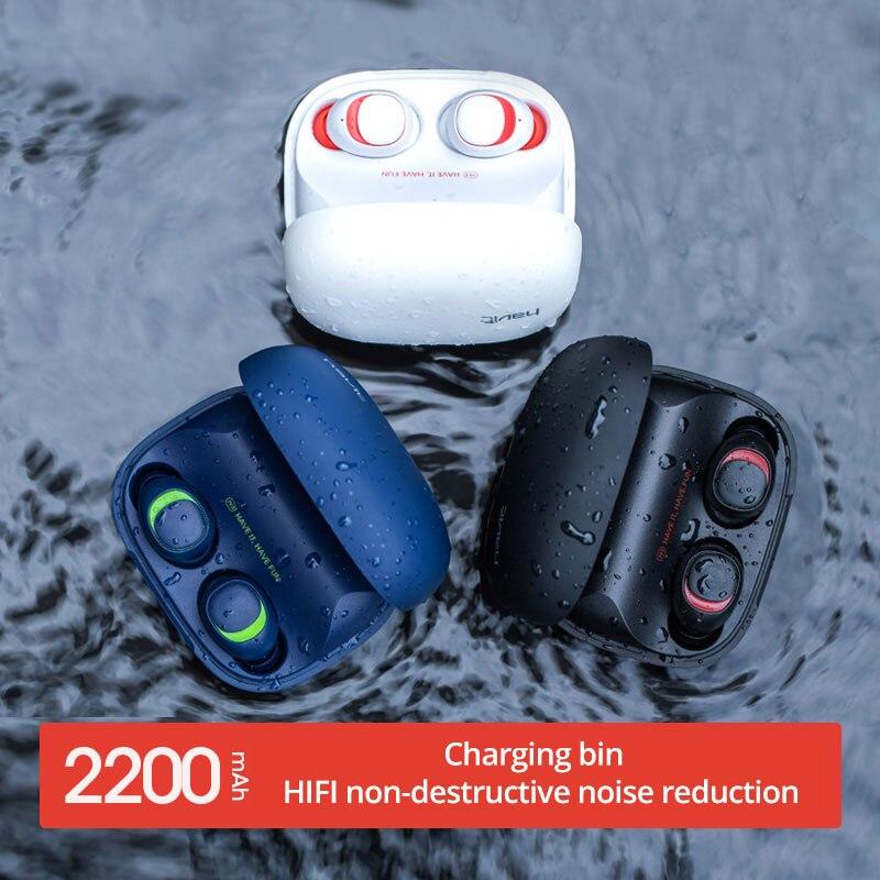 HAVIT écouteurs bluetooth V5.0 TWS Mini écouteurs sans fil In-Ear Sport IPX5 Étanche avec 2200 mAh Boîte casque rechargeable