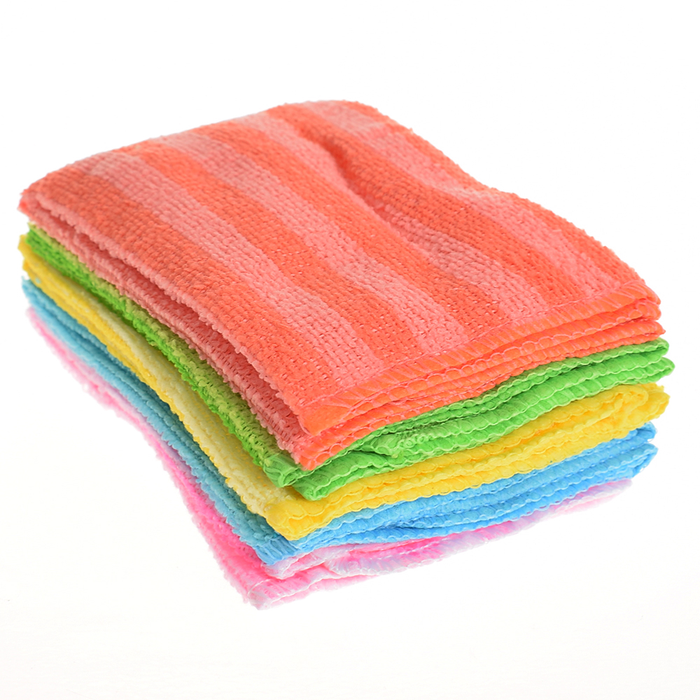 5Pcs High Efficient Anti-grease Dish Cloth Bamboo Fiber Washing Towel Magic Kitchen Cleaning Wiping