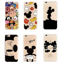 100pcs Lovers Minnie Mickey Stitch Case For Coque iPhone 6 6S X 5 5S 6PLUS XR XS Case TPU Clear Funda For iPhone6s 7 8 Xs Cover