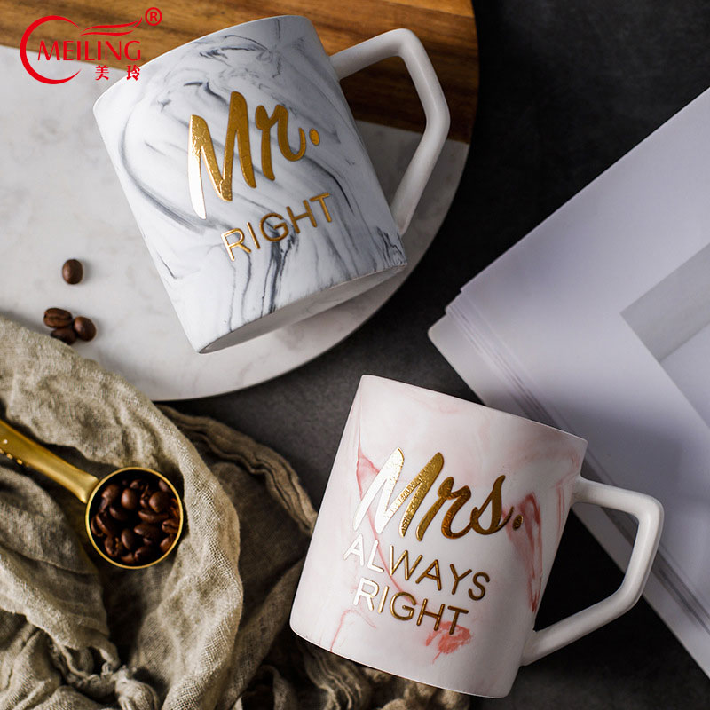 Nordic Mr RIGHT & Mrs ALWAYS RIGHT Marble Mug Matt Ceramic Couple Mugs Pink Grey Perfect Gift for Mom Dad Porcelain Coffee Cup gift for boyfriend on anniversary