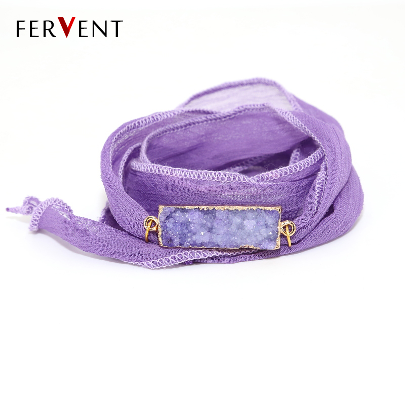 Customizable natural stone colorful Sari Silk Ribbon Wrap Yoga Fashion Women Bracelet Strand Friendship Bracelets gift jewelry