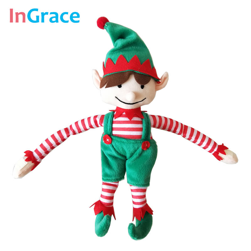 все цены на InGrace holiday decoration elf Christmas doll ELF Xmas gift toy for children high quality stuffed doll 28CM height soft green онлайн