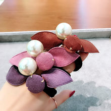 2019 Korean Girl Cute Hair Bands Autumn Winter Velvet Rabbit Ears Bow Big Imitation Pearl Ponytail Holder for Women Accessories(China)