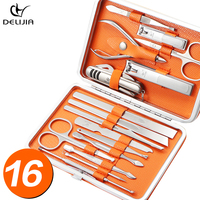 DeLiJia 16Pcs/Set Stainless Nail Kit Nail Clipper Nipper Cutter Scissors Tweezers Ear Pick Pedicure Manicure Set Nail Art Tools