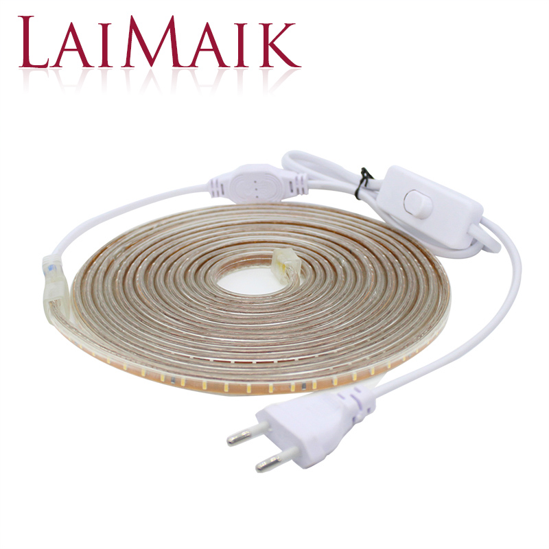 LAIMAIK LED Strip Lights kalis air dengan suis ON / OFF AC220V Fleksibel membawa pita 120leds / M SMD3014 jalur lampu LED untuk dapur