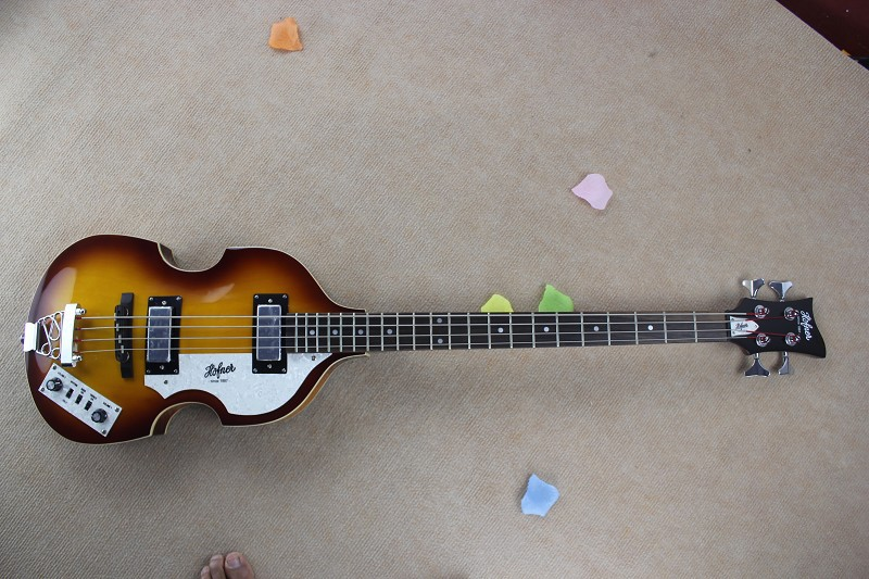 Hofner basse top qualité usine Personnalisé Hofner Icon Series Vintage Violon Sunburst Guitare Basse en stock