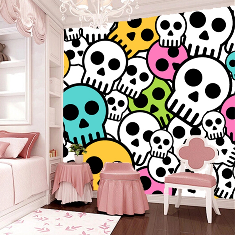Custom 3D animation wallpaper. Cartoon skull for children living room dining room backdrop waterproof papel de parede custom children wallpaper multicolored crayons 3d cartoon mural for living room bedroom hotel backdrop vinyl papel de parede