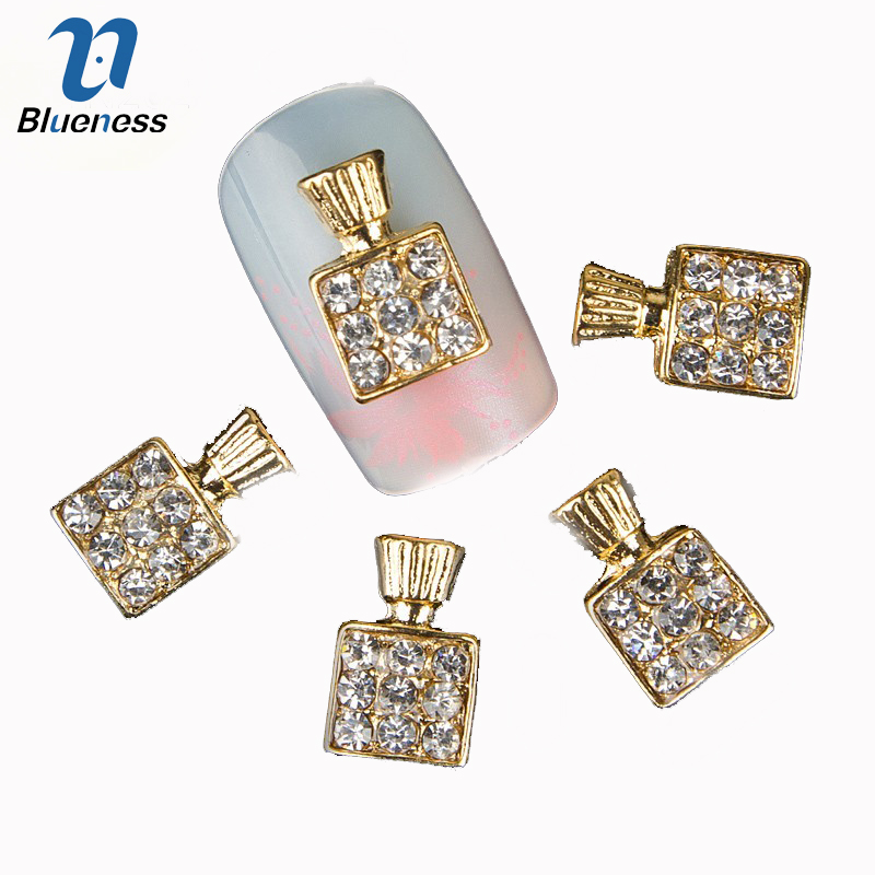 Blueness 10Pcs 3D Nail Art Perfume Bottles Design Rhinestones Decorations For Nails Gel Alloy Charms Strass Jewelry Studs TN262
