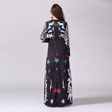 فستان صيفي منقوش بألوان زاهية بأكمام طويلة جميع المقاسات