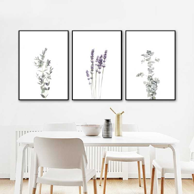 Modern Farmhouse Botanical Wall Art Canvas Posters Print Eucalyptus Lavender Olive Stem Painting Wall Pictures Home Room Decor