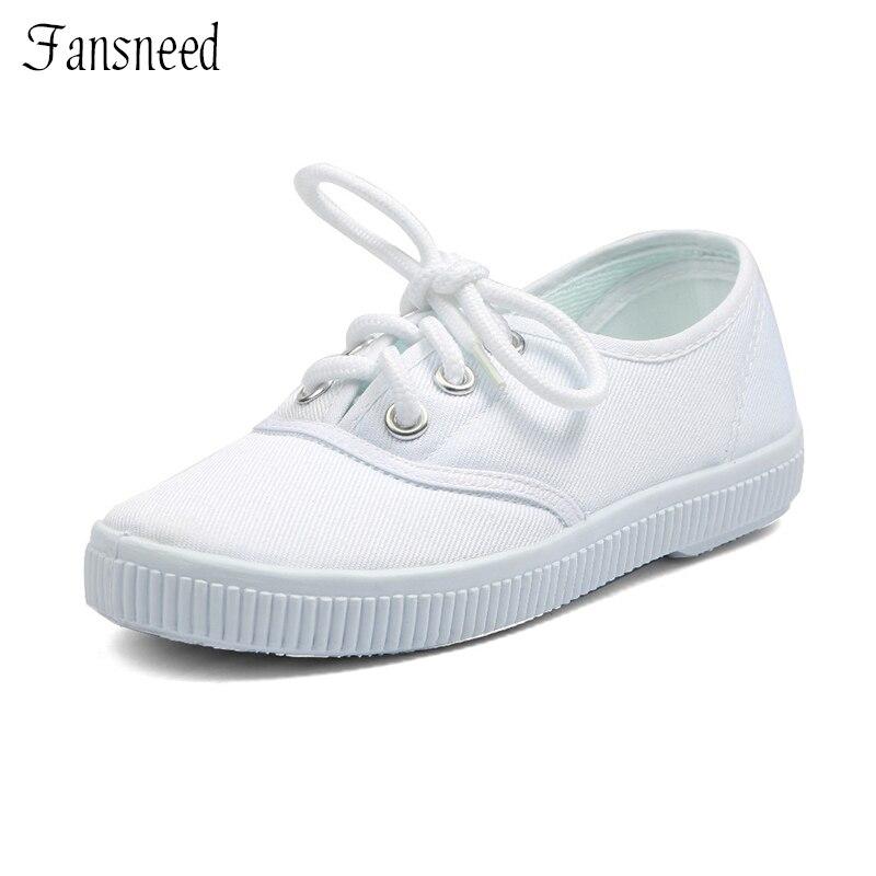 58e9dc46c 2019 Hot-venda sapatas de lona masculinos criança do sexo feminino branco  clássico-algodão feito lacing sapatos de dança