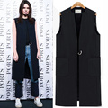 2017 Spring Must Have All-match Women Long Design Workwear Vest Sleeveless Jacket