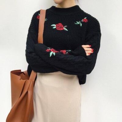 Rose Colores Invierno Trenzado Pullovers Mujer De Engrosamiento Otoño 2016 Y 2 Bordado Suéteres Larga Jersey Manga Para wRnqX7Xd