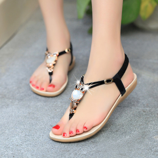 Best Selling Summer Style Casual Sandals Women Rhinestone Flat Heel Ladies  Shoes Owl Design Female Bohemia Beach Shoe Plus Size 468aa9cd64e