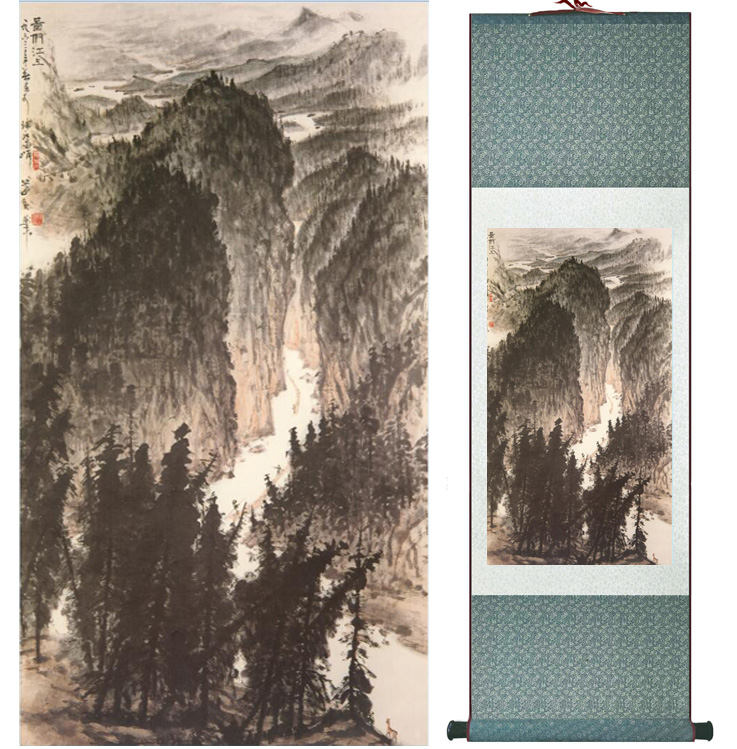 landscape painting Home Office Decoration Chinese scroll painting mountain and River paintingPrinted painting042604