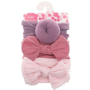 3pcs/Set New Solid Nylon baby headband Bow Headbands For Cute Kids Girls Hair Girls Turban Hairband Children Soft Cotton(China)