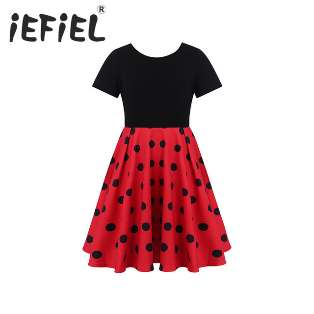 33c87caacae6 Kids Girls Short Sleeves Polka Dots Swing Dress for Fancy Party Wedding  School Casual Children Birthday Cosplay Costumes Dress