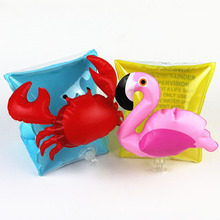 цены 2pcs 1pair Cherry Child Swimming Arm ring band Wing Kids baby Flamingo Crab Inflatable Summer Learn swim Float Water toy pool