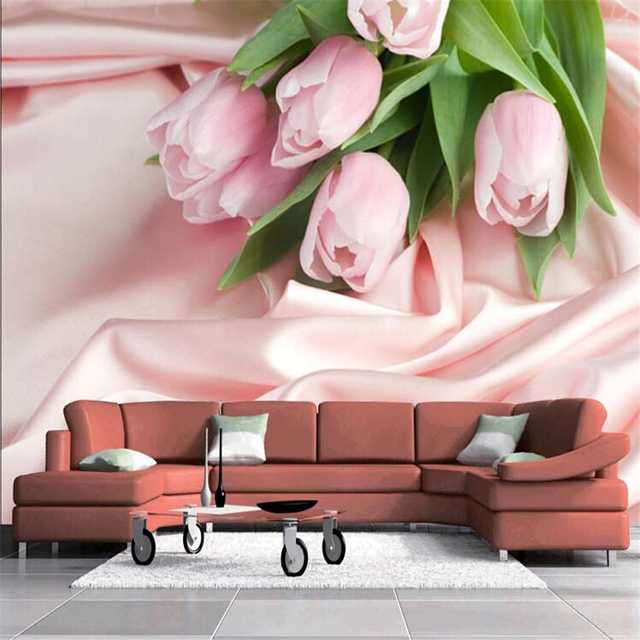 beibehang paper Stereoscopic Pink Rose TV backdrop flower romantic ...
