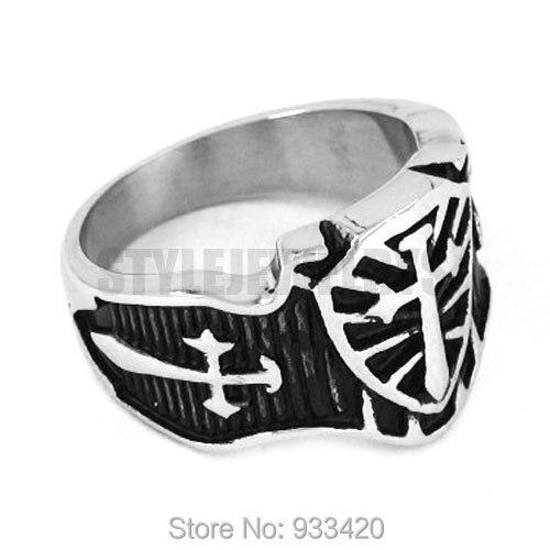 cross sword shield ring stainless steel jewelry vintage celtic medieval cross sword motor - Medieval Wedding Rings