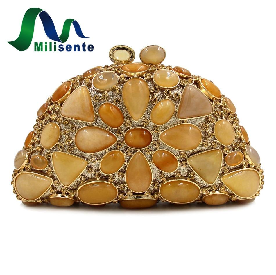 ФОТО Milisente Precious Stone Bags Designer Real Agate Bag Women Luxury Clutches Gold Wedding Clutch Ladies Purse And Handbags