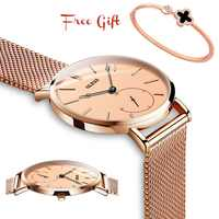 Luxury Montre Femme Ultra thin Rose Gold Watches For Women Stainless Steel Ladies Watch Dress Black Lady wristwatch reloj mujer