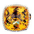 Luxuriant EDI 16CT Natural Yellow Crystal Alice Real Diamond 18k Yellow Gold Cushion Cut Citrine Wedding Best Jewelry Gifts