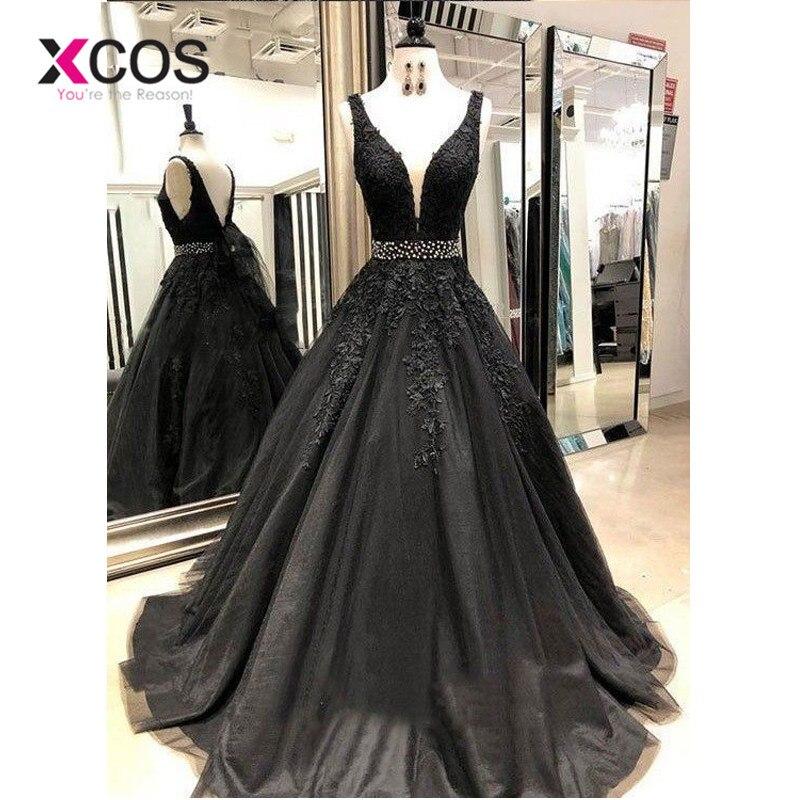 0d172d163ce XCOS Черный Длинные платья выпускного вечера Бисер v-образным вырезом  бальное платье тюлевые аппликации кружево Саудовская арабское вечерне.