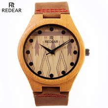 REDEAR Wood Watch Luxury Brand Round Bamboo Case Men Quartz Wooden Wrist Watch Dress Men's Full Grain Leather Strap Watches
