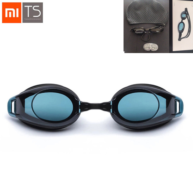 4IN1 Xiaomi TS Swimming Glasses Kits+Cap+Ear Plugs+ Nose Clip Goggles HD Anti-fog 3 Replaceable Nose Stump With Silicone Gasket
