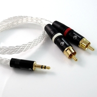 1M 12 Cores FLAT BRAID SILVER PLATED CABLE 3 5MM STEREO TO 2 RCA MALE PLUGS