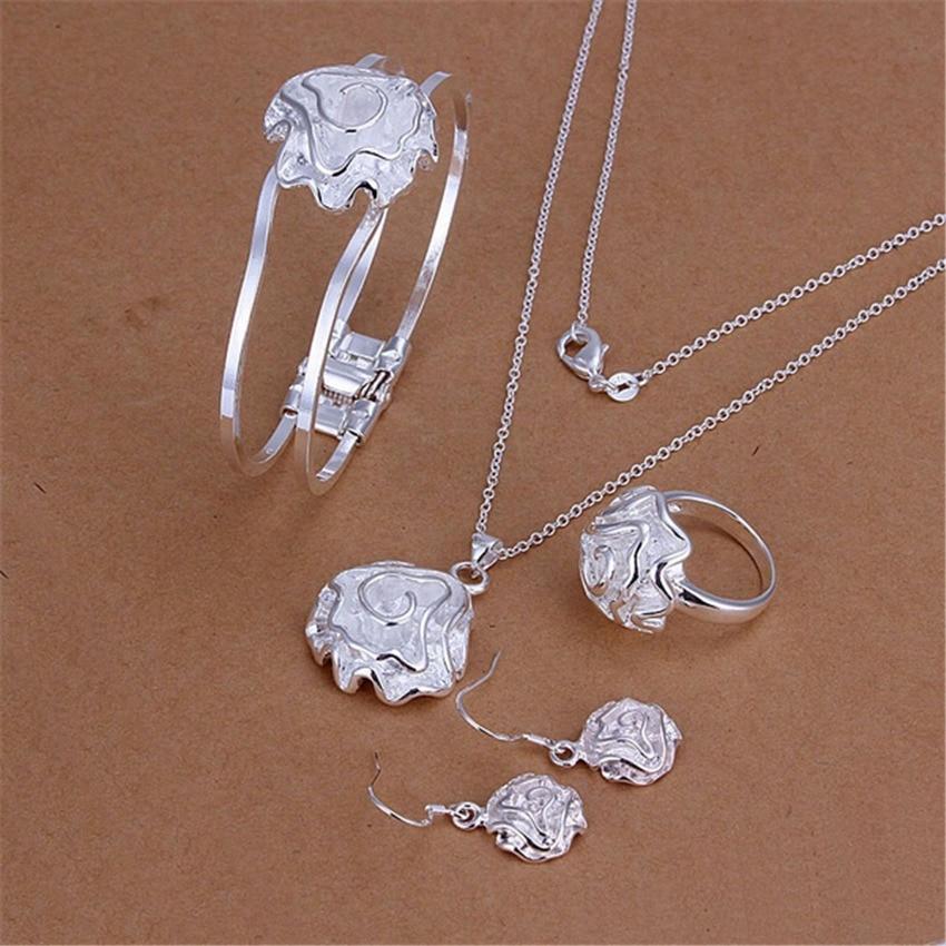 83d927ab3401 Sistema plateado de la joyería del Partido de las mujeres de la manera Flor  de Rose del encanto pendiente collar pulsera anillo Pendientes de gota s243