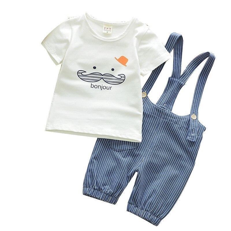 Children Casual Cute Beard T-Shirt Stripe Shorts 2Pcs/Sets Kids Fashion Suits Summer Baby Girls Boys Clothes Cotton Tracksuits