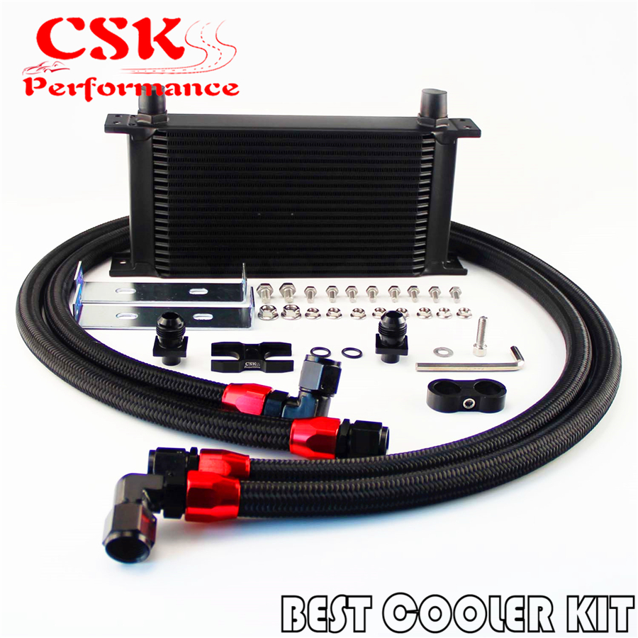 19 Row AN10 Oil Cooler Kit Fits For BMW E36 Euro,E82,E9X 135/335,E46 M3 Black