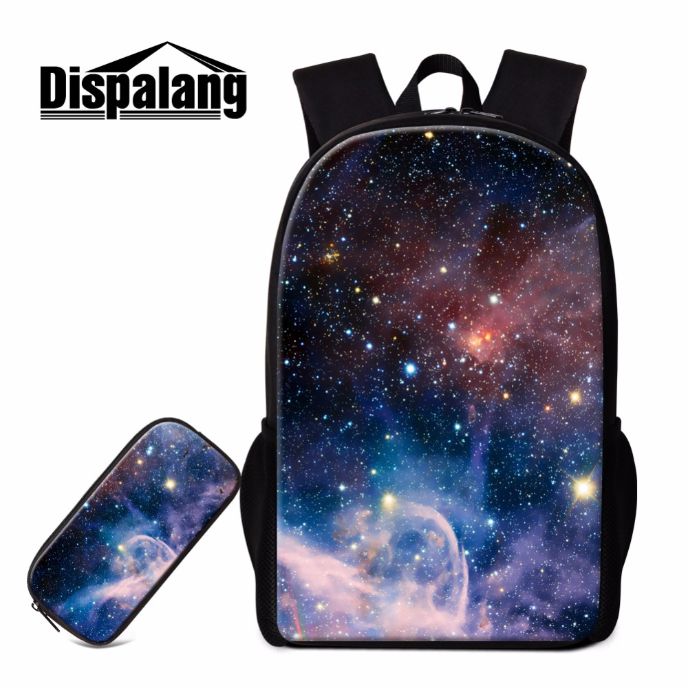 Dispalang Unique School Backpack for Children Galaxy Shoulder Bookbags with Pencil Bag Girls Traveling Bag Lightweight