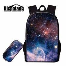 Dispalang einzigartige schule rucksack für kinder galaxy schulter bookbags mit bleistift tasche mädchen reisetasche leichte back pack