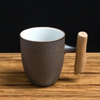 Tazza Da Caffè In Legno   Stile Giapponese Dell'annata Di Ceramica Ceramica Grossolana Tazza Ruggine Smalto Tazza Di Caffè Cucchiaio Di Legno Con Impugnatura Tè Al Latte Acqua Casa Articoli E Attrezzature Per Acqua, Caffè, Tè