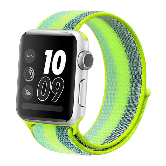 Stripe Colorful Nylon Loop Breathable Watchband for Apple Watch iWatch 4 Sports & Edition Sport Bracelet Strap Wrist Watch Band