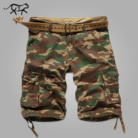 Mens Cargo Shorts Casual Cotton Multi Pocket Summer Man Short Pants Military Big Size Bermuda 2016