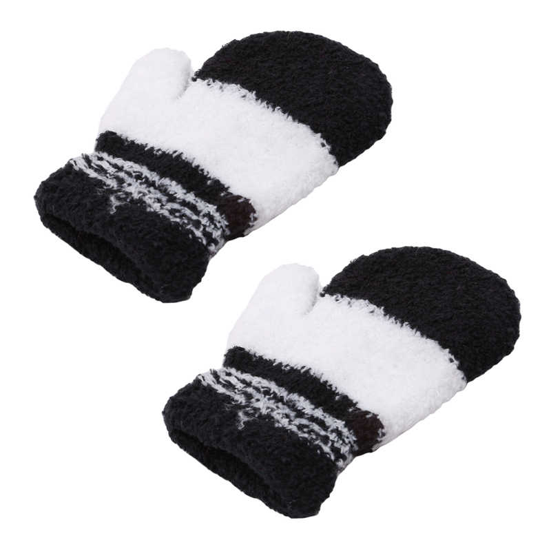 2019 Winter gloves Children Coral Fleece Knitted Mittens Boys Girls Soft Colorful Warm Striped Full Finger Plush Gloves Hot Sale