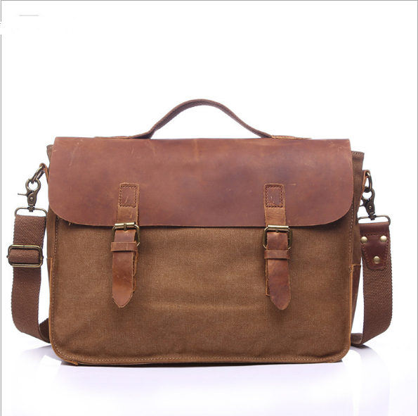 Vintage casual men's portable briefcase canvas postman bag Messenger bag with crazy horse leather 14 Inch Laptop Bag Cross Body casual canvas satchel men sling bag