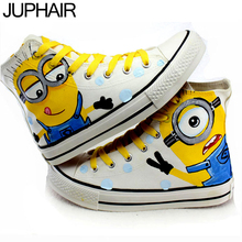 JUP Mens Boys Female Lovers Footwear Cartoon Minion Adult Hand Painted Canvas Shoes Men Males Anime Despicable Me Minions Shoes