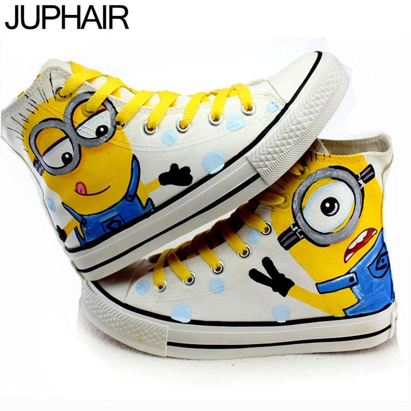 JUP font b Mens b font Boys Female Lovers Footwear Cartoon Minion Adult Hand Painted Canvas
