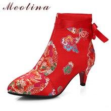 Meotina Sticken Stiefeletten High Heels Spitzschuh Winterstiefel Bogen Strap Schuhe Plus Größe 42 43 Zip Herbst Stiefel Damen Rot