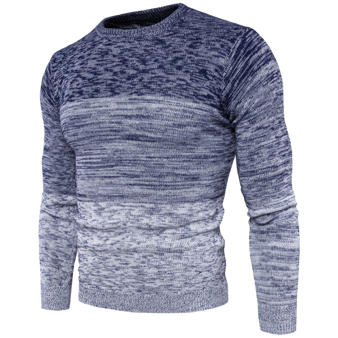 2019 Autumn Winter New Men Gradient Color Sweater Fashion Male Cotton O-neck Long Sleeve Sweater Male
